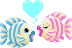 Fish love. An illustration featuring two fish kissing Stock Image