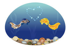 Fish in love. Sea landscape with two cute fish in love. Romantic feeling concept. Greeting card with Valentine`s day, suitable for recognition in infatuation Royalty Free Stock Photos