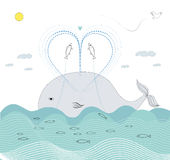 Fish love. A sketch of a whale and fish lovers Stock Photo