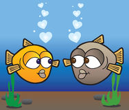 Fish In Love. Two cartoon fish in love are admiring each other Stock Photo