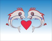 Fish in love vector. Illustration Fish carton  couple backgorund Stock Photography