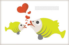 Fish lover. Card for Valentine's Day kissing fish Stock Photos