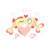 Fish lovers. Yellow funny love fish on a white background with hearts Stock Photos