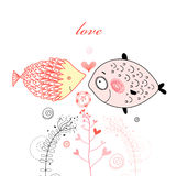 Fish lovers. Graphic bright love fish on a white background Royalty Free Stock Photos