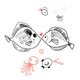 Fish lovers. Love graphic fish on a white background Stock Images