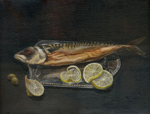 The fish - mackerel. Hand painted picture with sea fish Royalty Free Stock Photos