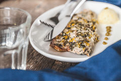 Fish mackerel baked with herbs, mashed potatoes, pesto sauce ser Royalty Free Stock Photos