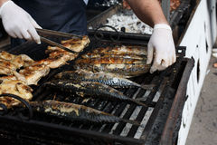 Fish mackerel and chicken tabaka grilled at bbq Royalty Free Stock Images