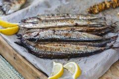 Fish mackerel grilled at bbq Stock Photography