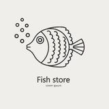 Fish made in modern line style vector. royalty free stock image