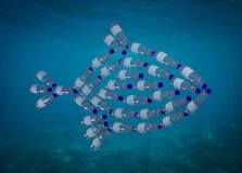 Fish made with plastic bottles, pollution that kill seasid Royalty Free Stock Photography
