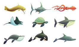Fish And Marine Animals Cartoon Set Stock Photos