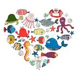 Fish and marine animals. In shape of heart, vector eps10 illustration Stock Photos