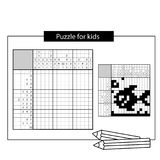 Fish. Marine life. Black and white japanese crossword with answer. Nonogram with answer. Graphic crossword. Puzzle game for kids Royalty Free Stock Photo