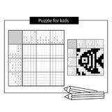 Fish. Marine life. Black and white japanese crossword with answer. Nonogram with answer. Graphic crossword. Puzzle game for kids Stock Images