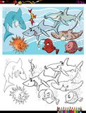 Fish marine life characters group color book. Cartoon Illustration of Fish Marine Life Animal Characters Group Coloring Book Activity Stock Photos
