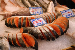 Fish Market. Salmon for sale at Athens Fish Market, Greece royalty free stock image