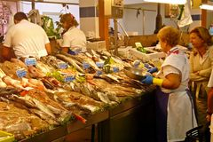 Fish market. The fish market in O Grove, Spain, still attracts a lot of customers, not being subdue by the bigger commercial surfaces Stock Photography