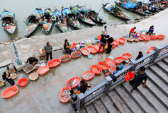 A Fish market. A small fish market is near the Fuchunjiang River , Zhejiang province,China Stock Photo