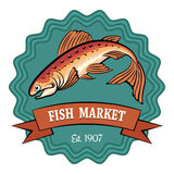 Fish Market. Badge or emblem. No gradient used. Isolated on white background Stock Photography