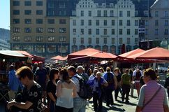 Fish Market in Bergen, Norway. Shoppers at the famous outdoor fish market in Bergen, a major city in Norway. Whale meat is controversially sold here sometimes Stock Photography