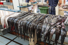Fish on market, black scabbard espada in fish market Stock Images