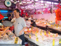 Fish market at Chinatown in New York City. NEW YORK,USA - AUGUST 20,2015 : Fish market at Chinatown in New York City royalty free stock image