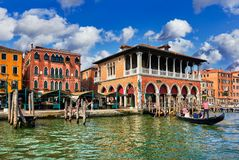 Fish market on Grand Canal in Venice Stock Images
