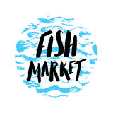 Fish market hand drawn. Lettering fish market, hand drawn with brush pen, inc, round design. Vector. Logo. Could be used for fish market. Vector Royalty Free Stock Images