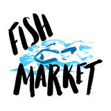 Fish market hand drawn. Lettering fish market, hand drawn with brush pen, inc. Vector. Logo. Could be used for fish market. Vector Stock Photos
