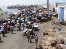 Fish Market. Morning fish market in coastal village in north Morocco Royalty Free Stock Photo
