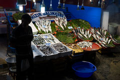 Fish market. At night in Istanbul,Turkey Royalty Free Stock Images