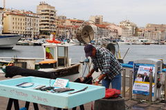 Fish market in the port of Marseille, France. Fish selling in the French town Marseilles, known to the ancient Greeks and Romans as Massalia. Marseille, now Royalty Free Stock Images