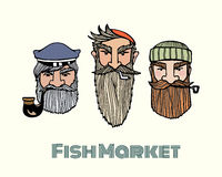 Fish market poster. With hand drawn fisherman characters made in vector. Hand drawn manly seamen with bearda and smoking pipes. Heavy contour, graphic style Royalty Free Stock Images