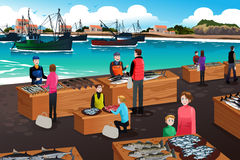 Fish Market Scene. A vector illustration of fish market scene Stock Image