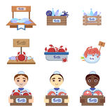 Fish Market Set With Male Vendors. Fish Market  With Male Vendors Flat Simlified Design Vector Set Of Isolated Icons On White Background Royalty Free Stock Photos