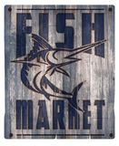 Fish Market Sign Wood. Rustic Vintage Distressed Old Crate Seafood Swordfish Fresh Stock Photography