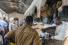 Fish market in Stone Town. Sellers offer fresh fish and seafood in the city market Stone Town on Zanzibar, Tanzania. Africa Stock Image