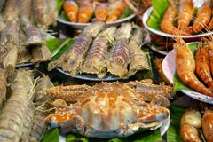 Fish Market Street Food. An arrangement of cooked crab, shrimp, prawn, mantis prawn shellfish crustacean seafood at a fish market food stall in Phuket, Thailand royalty free stock photo