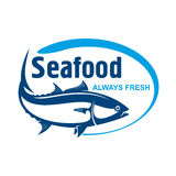 Fish market symbol with wild alaskan salmon. Fish market symbol for promotion label design with retro stylized dark blue icon. Wild alaskan salmon encircled by Royalty Free Stock Photo