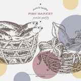 Fish market template with seafood baskets. Royalty Free Stock Photography