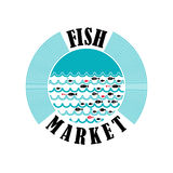 Fish market 2. Vector lable for local markets with fresh fish Stock Image