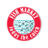 Fish market 3. Vector lable for local markets with fresh fish Stock Photography