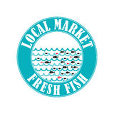 Fish market 4. Vector lable for local markets with fresh fish Royalty Free Stock Photo