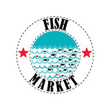 Fish market 4. Vector lable for local markets with fresh fish Royalty Free Stock Photos