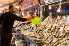 Fish markets on historical Havra Street, Kemeralt?, Izmir, Turkey. Royalty Free Stock Images