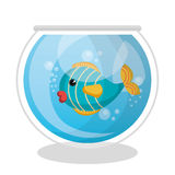Fish mascot in aquarium Stock Photo