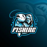 Fish mascot logo design vector with modern illustration concept style for badge, emblem and tshirt printing. fish jumping vector illustration