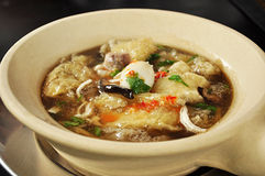 Fish maw soup. Fish maw in chicken broth - asian food Royalty Free Stock Image