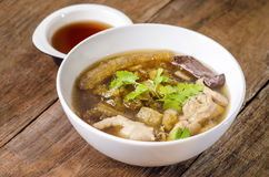 Fish Maw Soup with crab serve with sauce in restaurant. Fish Maw Soup with crab serve with sauce in restaurant stock photos